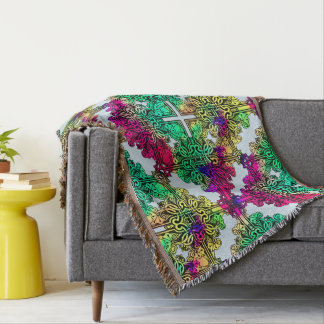 Boho Gypsy Floral Bohemian Colorful Folk Art Throw Blanket