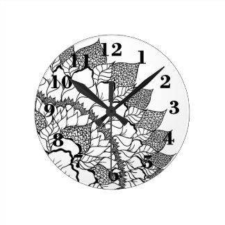 Boho handdrawn floral mandala black white round clock