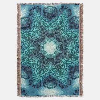 Boho henna floral paisley turquoise teal mandala throw blanket