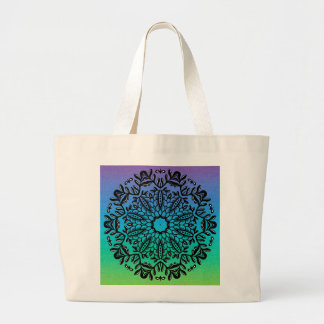 Boho Hippie Black Floral Mandala on Ombre Large Tote Bag