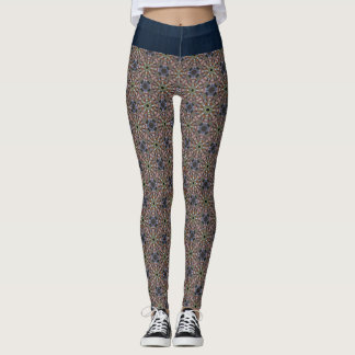 Boho Hippie Mandala Tile and Dark Blue Leggings