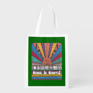 """Boho Hippie Psychedelic """"Green Is Groovy! 2-Sided Reusable Grocery Bag"""