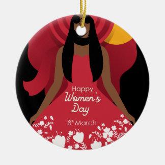boho international womens day ceramic ornament