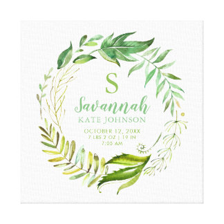 Boho Leaves Personalized Baby Birth Stats Canvas Print