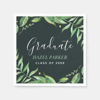 Boho Leaves Personalized Graduation Paper Napkin