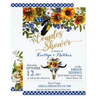 Boho Longhorn Cow Skull Floral Bridal Shower Card