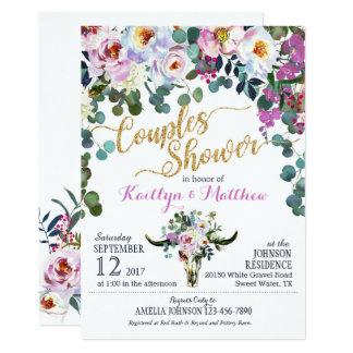 Boho Longhorn Cow Skull Floral Couples Shower Card