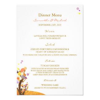 Boho Love Trees DIY Wedding Dinner Menus 14 Cm X 19 Cm Invitation Card