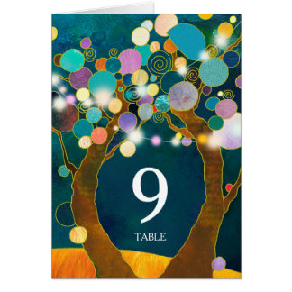 Boho Love Trees Teal Wedding Table Number