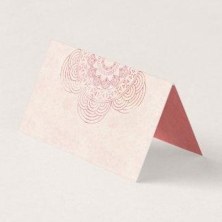 Boho Mandala Elegant Peach Wedding Table Place Card