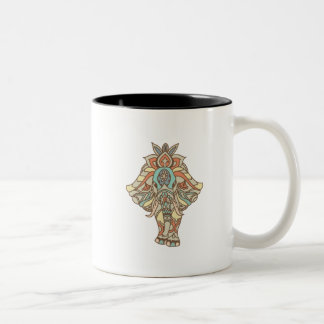 Boho Mandela Elephant Two-Tone Coffee Mug
