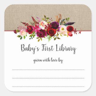Boho marsala floral girl baby shower bookplate square sticker