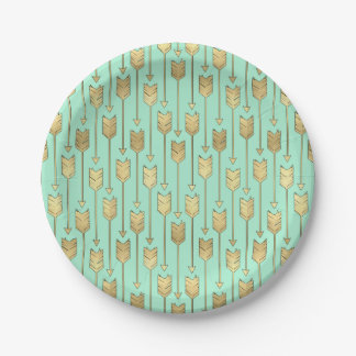 Boho Mint and Faux Gold Arrows Pattern Paper Plate