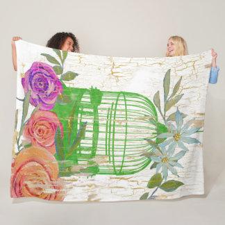 Boho Modern Vintage Floral Bird Cage Wood Fleece Blanket