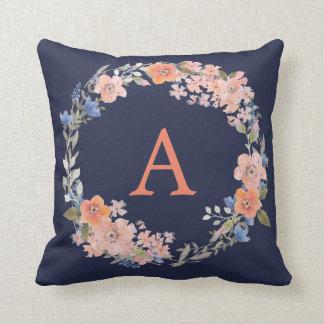 Boho Navy and Peach Monogram Floral Wreath Pillow