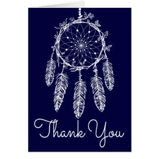 Boho Navy Blue Thank You Tribal  Dream Catcher Card