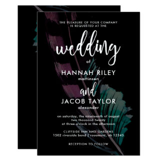 Boho Nights Black with Feathers Wedding Card