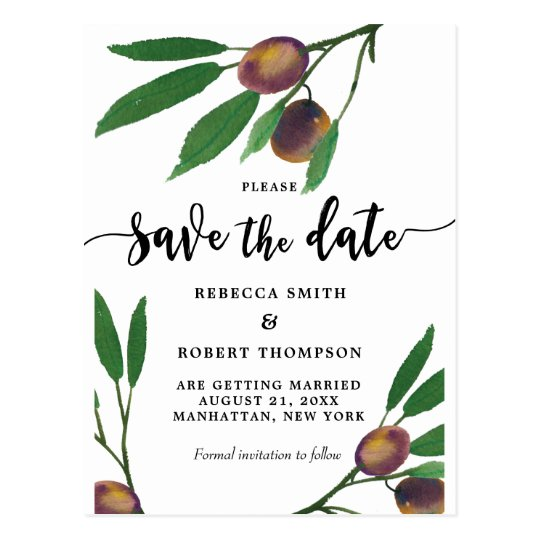 boho olive branch modern save the date postcard