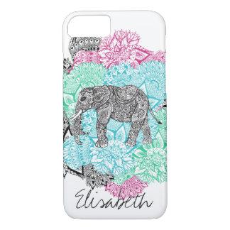 Boho paisley elephant handdrawn floral monogram iPhone 8/7 case