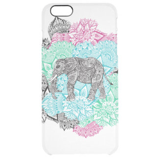 Boho paisley elephant handdrawn pastel floral clear iPhone 6 plus case