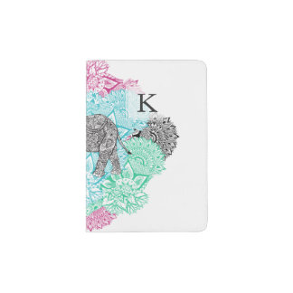 Boho paisley elephant handdrawn pastel floral passport holder