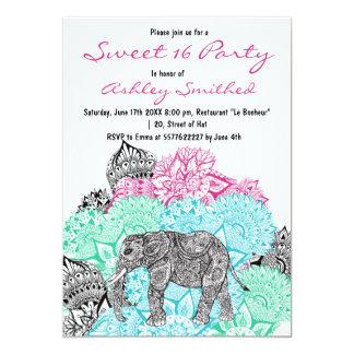 Boho paisley elephant pastel floral Sweet 16 13 Cm X 18 Cm Invitation Card