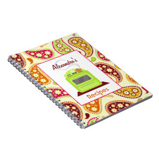 Boho Paisley & Retro Stove Recipe Notebook