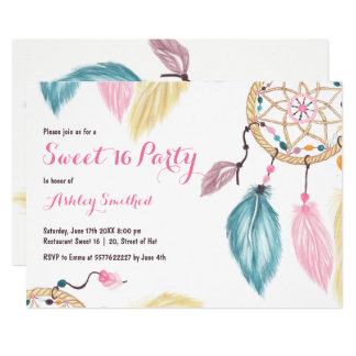 Boho pastel dreamcatcher feather pink Sweet 16 Card