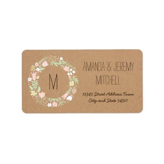 Boho Pastel Floral Wreath Rustic Wedding Address Label