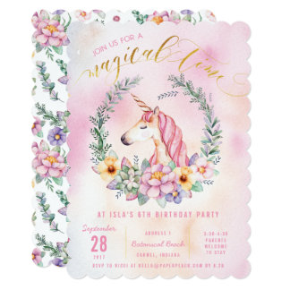 Boho Pastel Unicorn Birthday Party Invitation