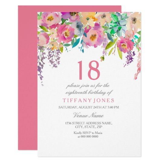 Boho Pastel Watercolor Flowers 18th Birthday Party Invitation