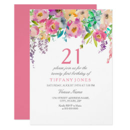 21st birthday invitations announcements zazzle boho pastel watercolor flowers 21st birthday party card stopboris Image collections