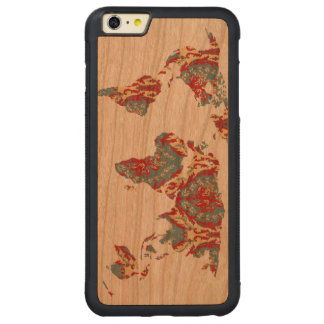 Boho Patterned World Map Carved® Cherry iPhone 6 Plus Bumper Case