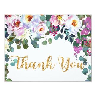 Boho Peonies Navy Floral Modern Thank You Card