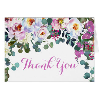 Boho Peonies Watercolor Floral Modern Thank You Card