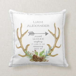 BOHO Pine Forest Deer Antler Arrow Baby Birth Stat Cushion