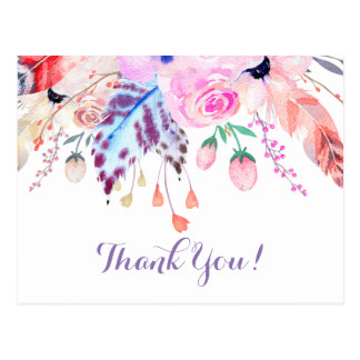 boho pink and white floral thank you card