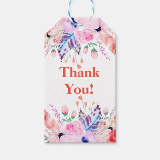 boho pink and white floral thank you gift tag