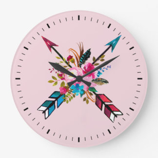 Boho Pink Arrows & Feathers Bouquet Wall Clock