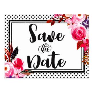Boho Pink Floral & Black Dot Wedding Save the Date Postcard