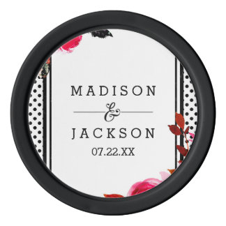 Boho Pink Floral & Black Dots Wedding Favor Poker Chips
