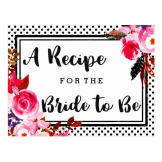Boho Pink Floral & Dots Bridal Shower Recipe Card