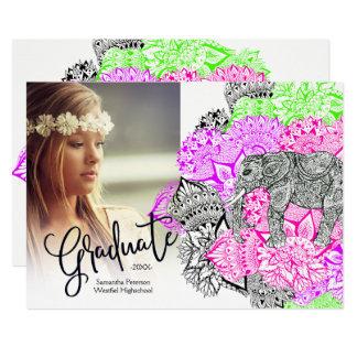 Boho pink floral mandala elephant Graduate photo Card