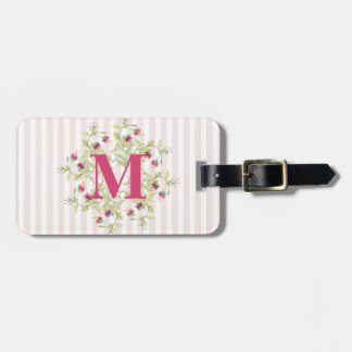 Boho Pink Rose Flowers Monogram Luggage Tag