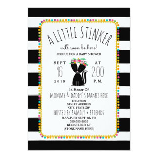 Boho Pom Poms Skunk Little Stinker Baby Shower Card