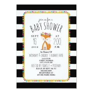 Boho Pom Poms + Stripes Fox Baby Shower Card