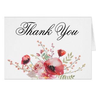 Boho Poppy Thank You Card