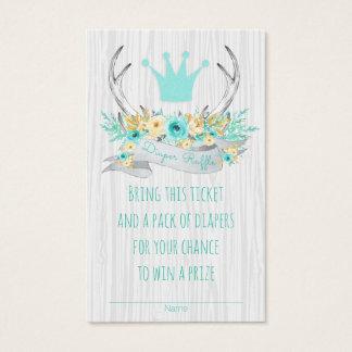 Boho Princess Antler Tribal Diaper Raffle Tickets