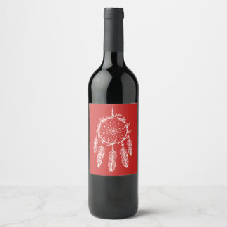 Boho Red Dream Catcher Tribal Native American Wine Label