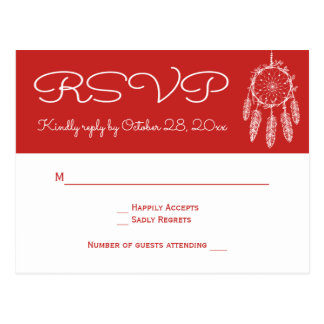 Boho Red RSVP Native American Dreamcatcher Wedding Postcard